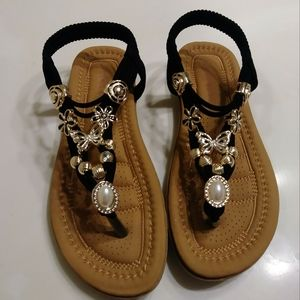 Girl's Jeweled Black Sandals